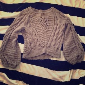 Cropped bell sleeve sweater